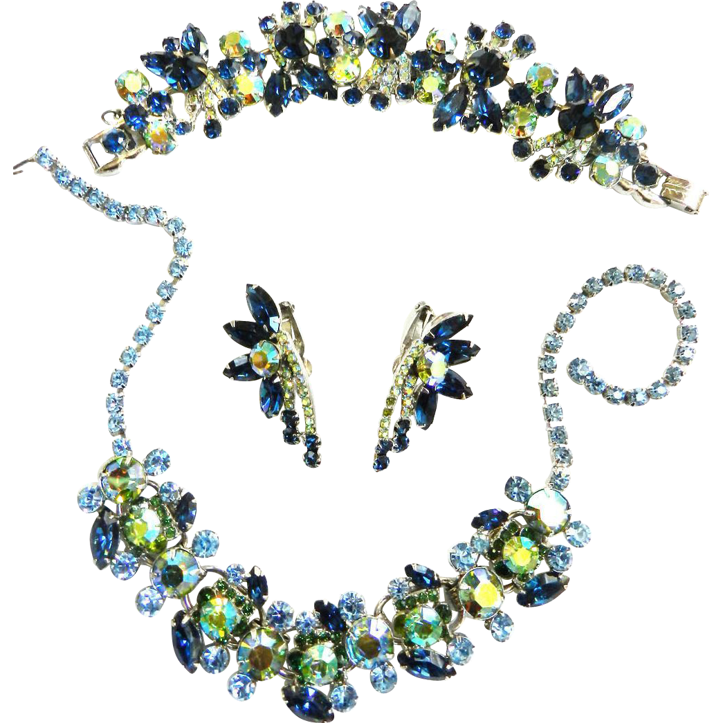 Jaw Dropping Juliana Montana Blue Necklace Bracelet Earrings