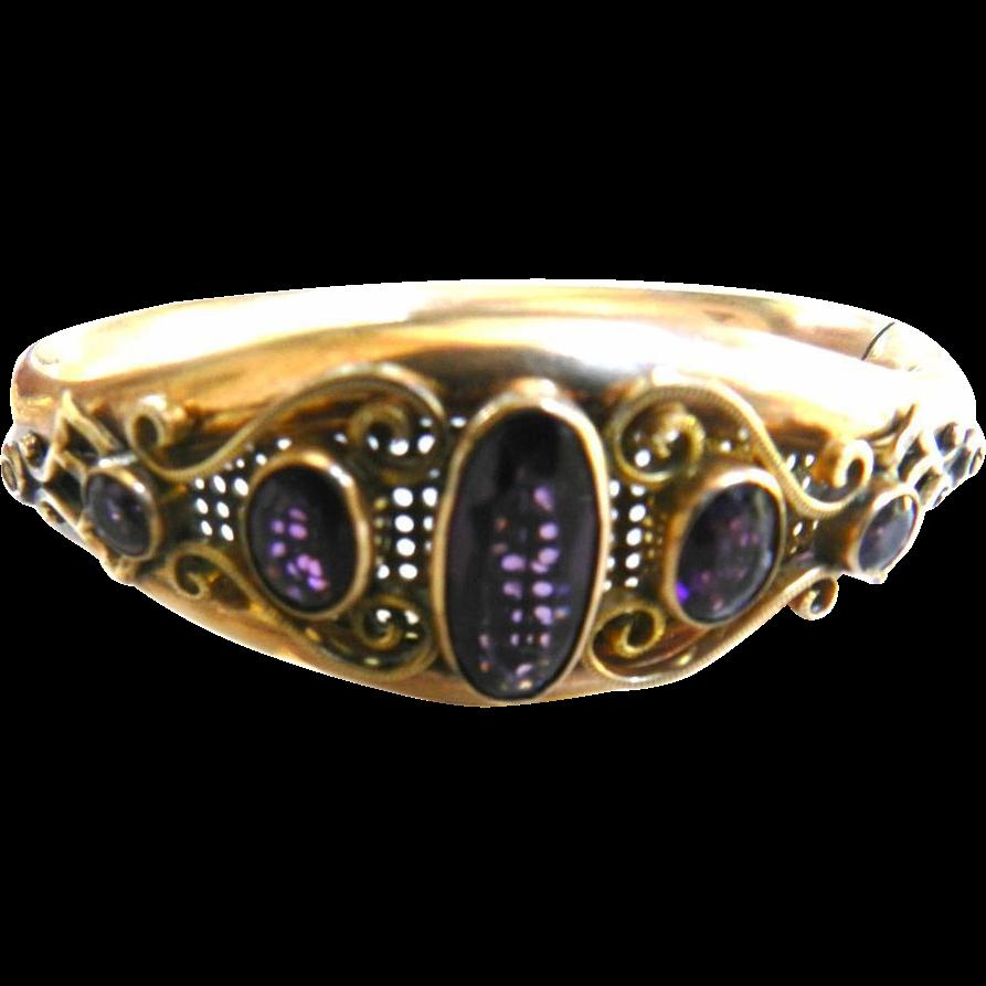 Victorian Rose  Gold Amethyst Clamper Bracelet