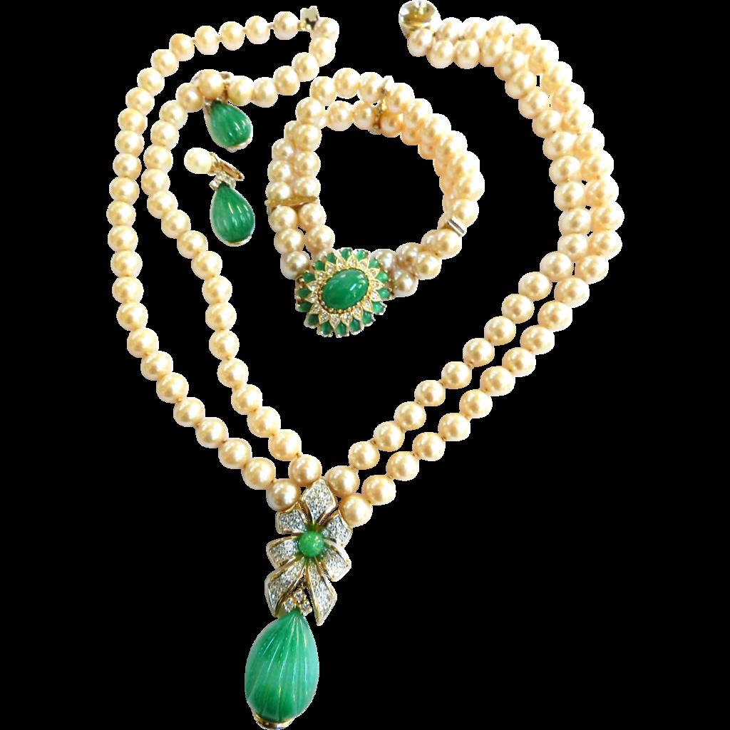 Vintage Mogul Jewels of India Faux Pearl Necklace Bracelet Earrings