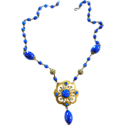 Early 1900s Lapis Blue Czech Crippy Necklace