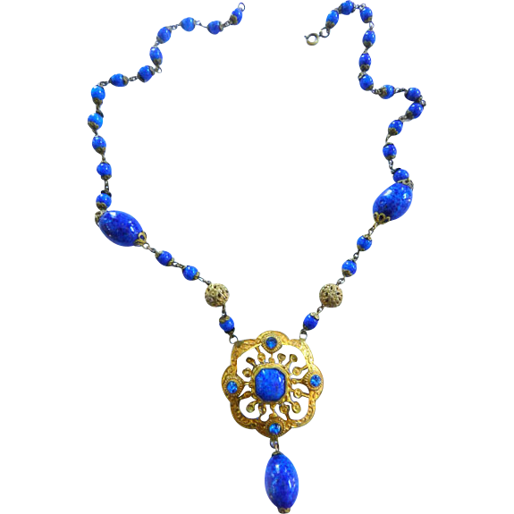 Early 1900s Lapis Blue Czech Crippy Necklace