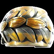 Vintage Rehabes Huge Copper Leaf Cuf Bracelet