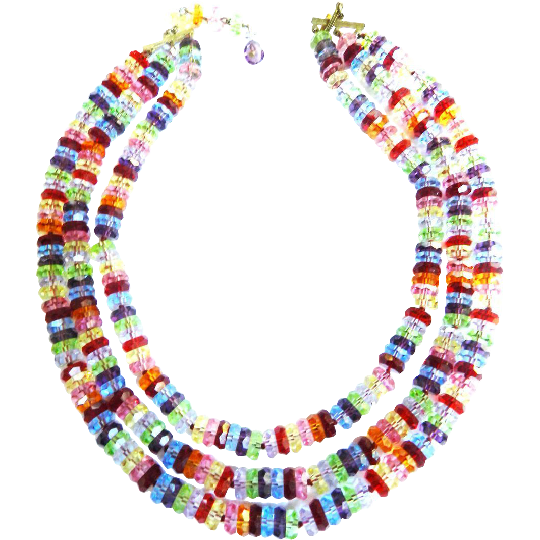 Vintage Glass Faceted 3 Row necklace Color Galore