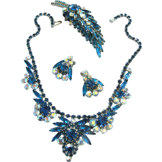 Exquisite Juliana Montana Blue Necklace Earrings Brooch