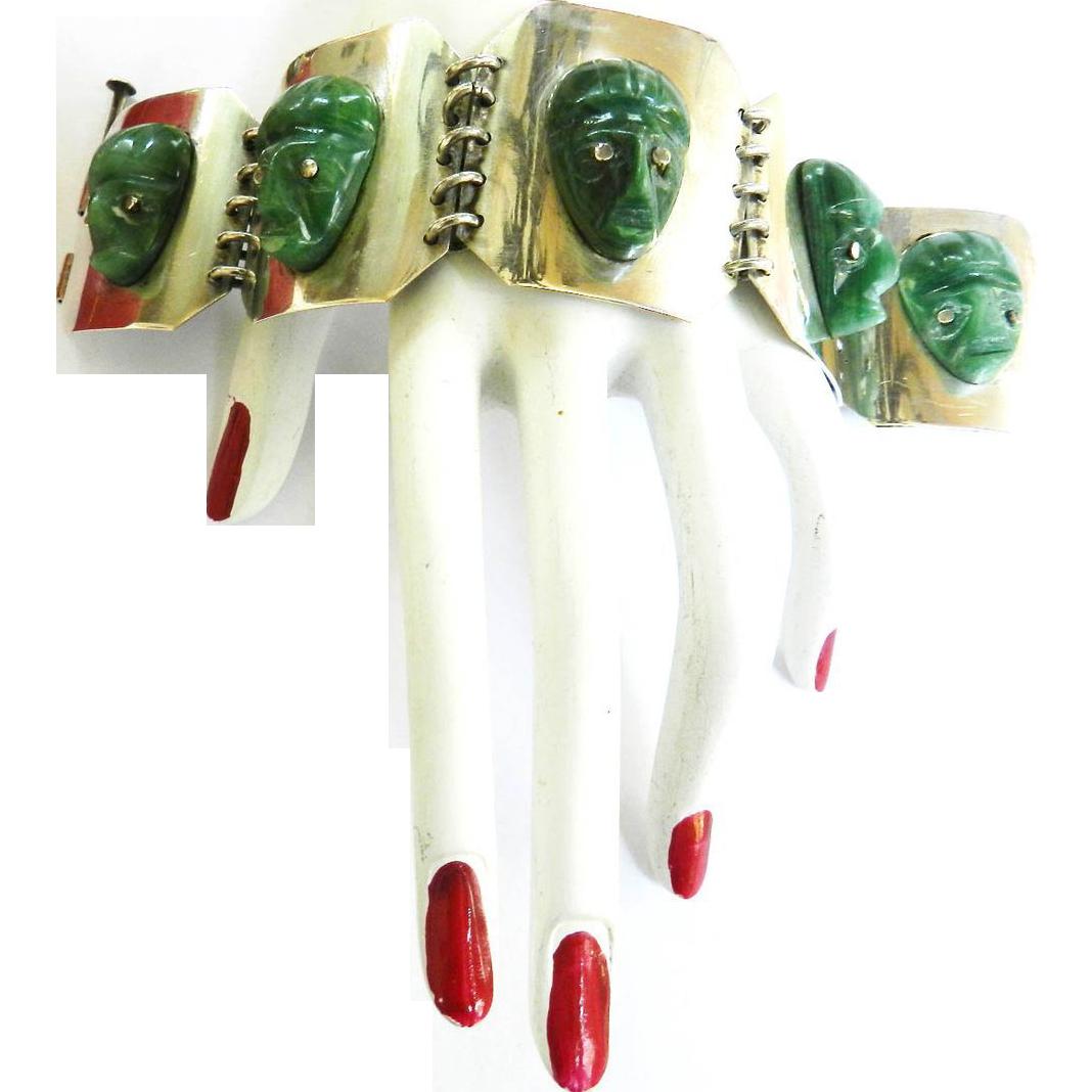 Sensational Huge 1930s Mexican Silver Bracelet Carved Aztec Heads