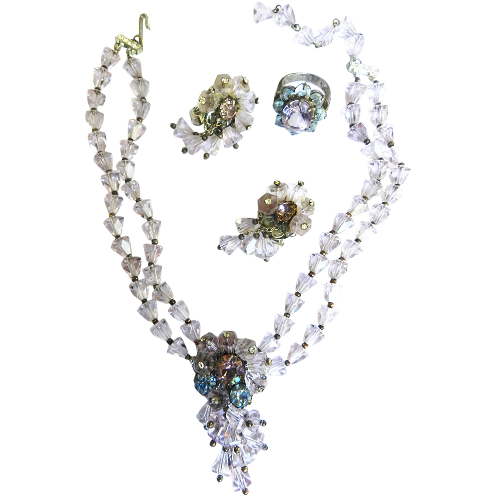 Exquisite Crystal Necklace Earrings and Dinner Ring 1940s