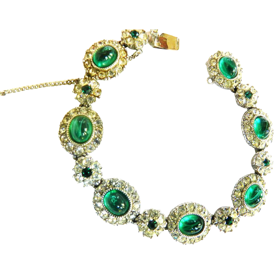 Classic Ciner Emerald Green and Ice Vintage Bracelet