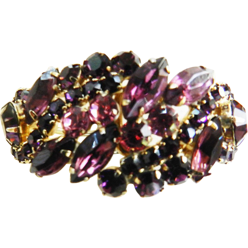 Gorgeous Juliana Amethyst and Rose Clamper Bracelet