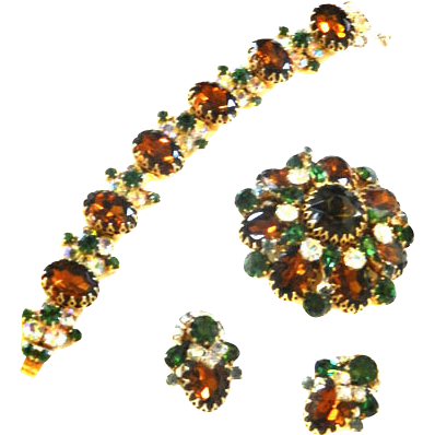Fabulous Vintage Ledo Polcini Bracelet Earrings Brooch