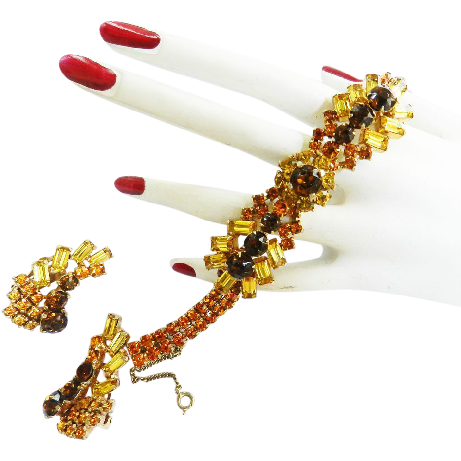 Vintage Deco  Style Colorado Topaz and Citrine Vintage Rhinestone Set