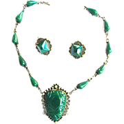 Carved Malachite Mexican Necklace Filigree  Sterling Necklace and Earrings