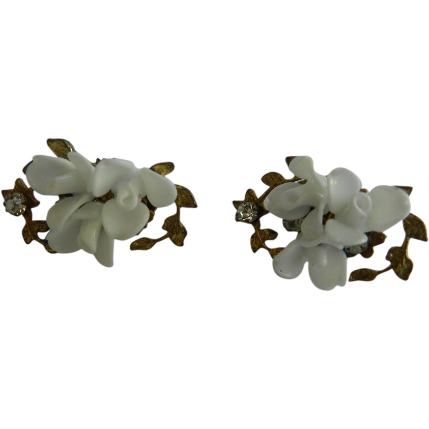 Carved Rose Buds 1940s Haskell Clip Earrings