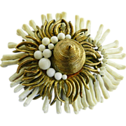 Exceptional Vintage  Cadoro Anemone Brooch Highly Detailed