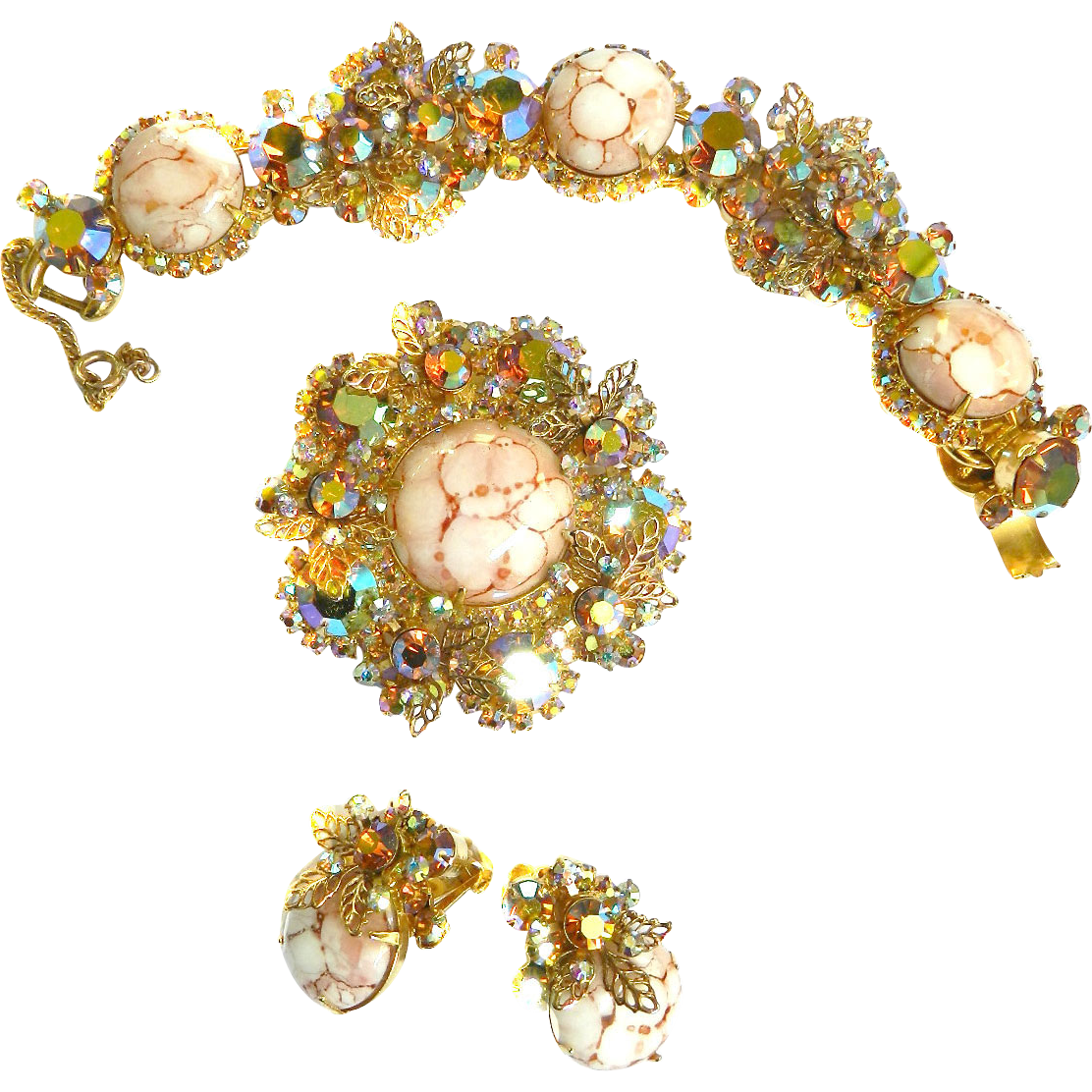 Classic Juliana Brooch Bracelet and Earrings set with Art Glass Stones