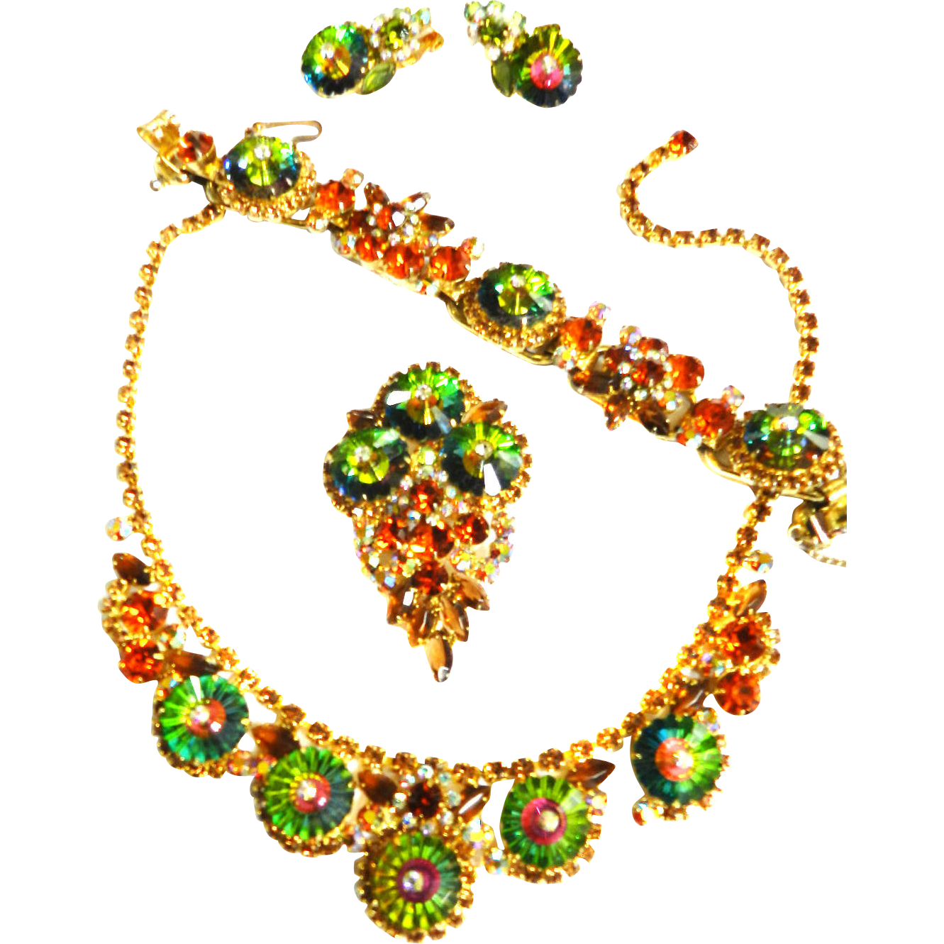 Magnificent Juliana Grand Parure Margarita Watermelon Stones Sought After Set