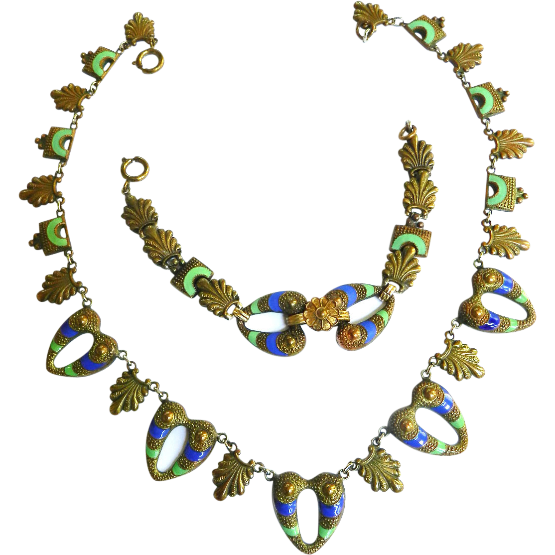 Late 1800s  Egyptian Revival Enamel Necklace and Bracelet FNCO