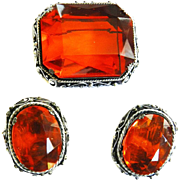 Vintage 1950s Kramer N.Y. Gargantuan Topaz Glass Stone Brooch and Earrings