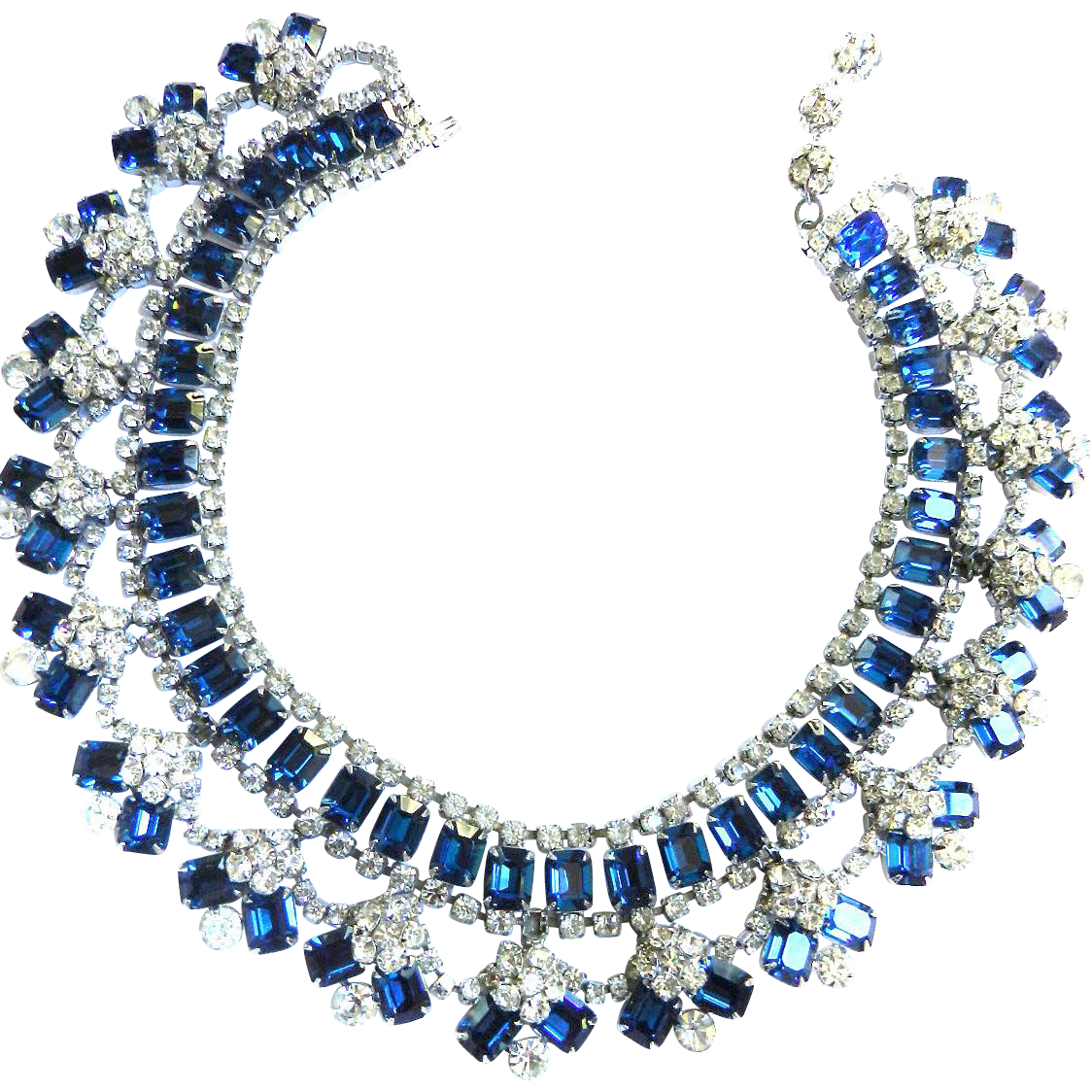 Magnificent Juliana Sapphire Blue Massive Bib/Collar Necklace Vintage