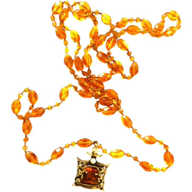 1920s Flapper Topaz Griffin FOB Necklace Czech