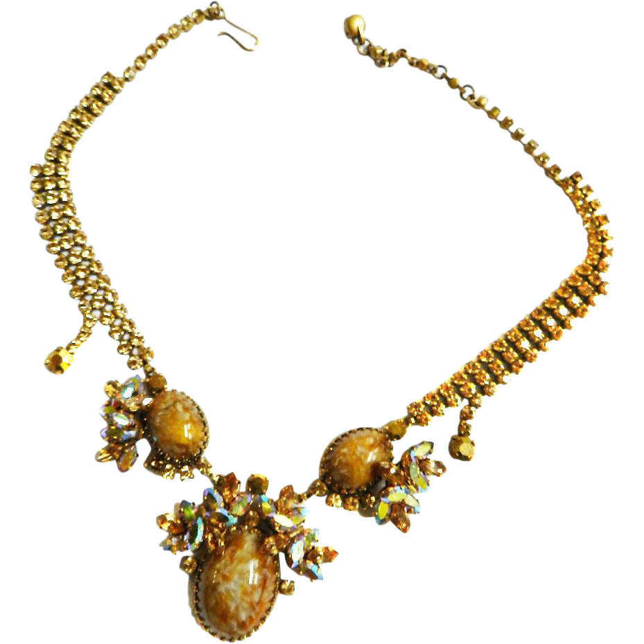Exquisite 1940s Austrian Egg Rhinestone Necklace