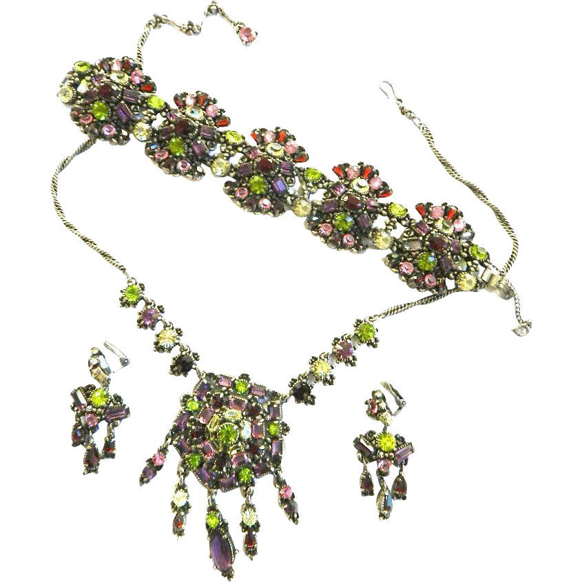 Magnificent Humongous Hollycraft 1954 Drippy Necklace Bracelet Earrings