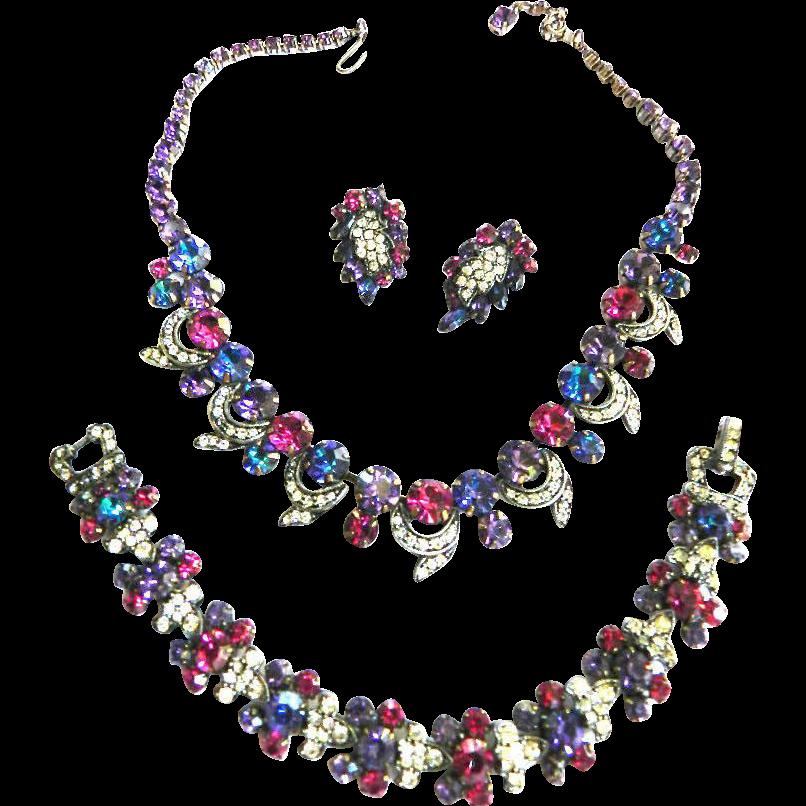 1940s Weiss Amethyst Fuchsia Rhinestone Necklace Bracelet Earrings Parure