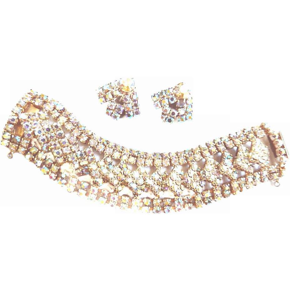 Dazzling Aurora Borealis Designer Wide Vintage Bracelet and Earrings