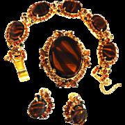 Hard to Find Juliana Tiger Stripe Bracelet earrings Brooch