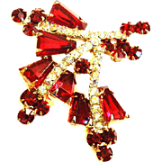 Vintage Juliana Kite Shaped Brooch Deep Red