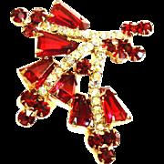 Vintage Juliana Kite Shaped Brooch Deep Red