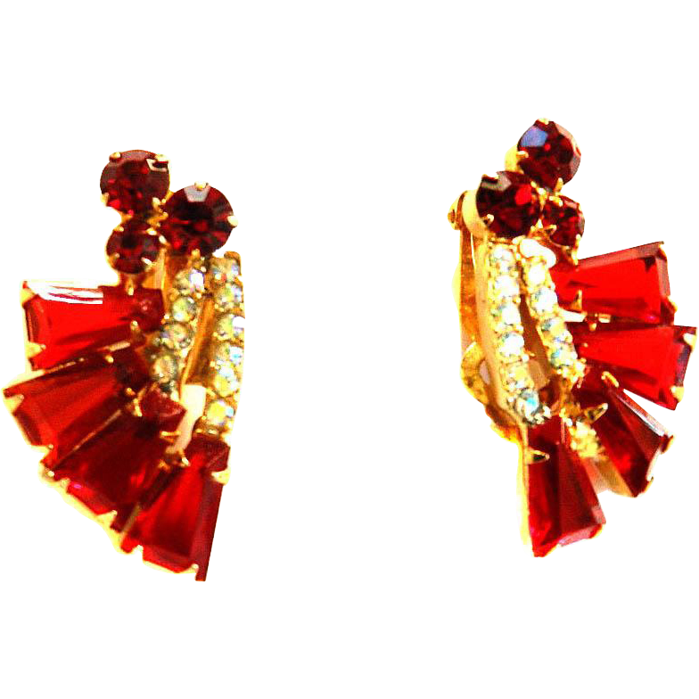 Vintage Juliana Red Kite Shaped Earrings