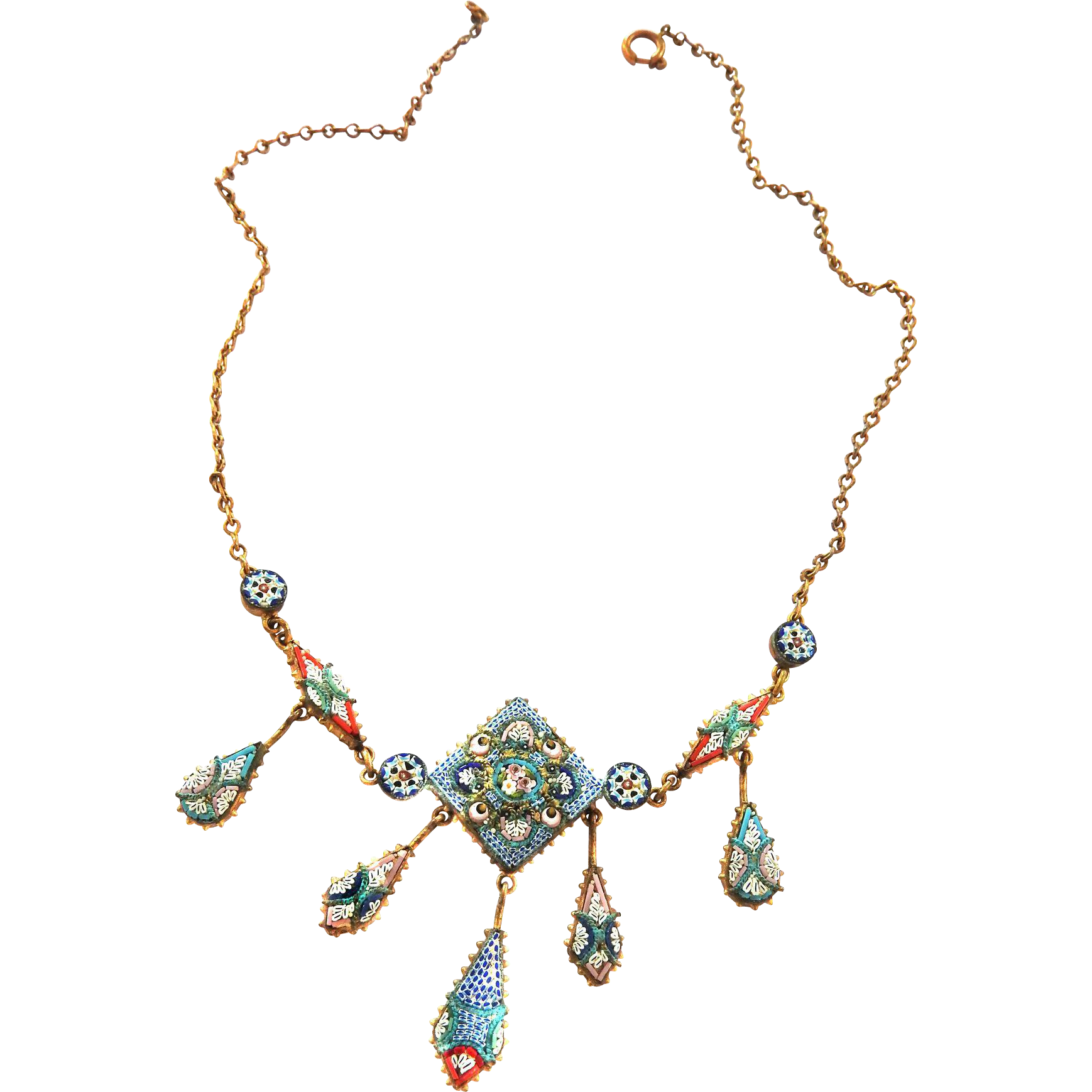 Gorgeous Vintage Drippy Micro Mosaic Necklace