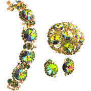 Juliana Watermelon Rivoli Bracelet Earrings Brooch