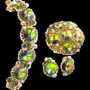 Juliana Watermelon Rivoli Bracelet Earrings Brooch