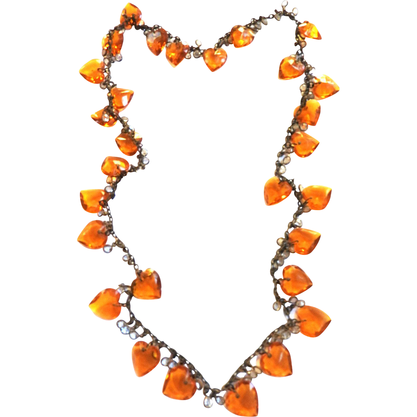 Victorian   Drippy Topaz Heart Necklace Charms all Glass
