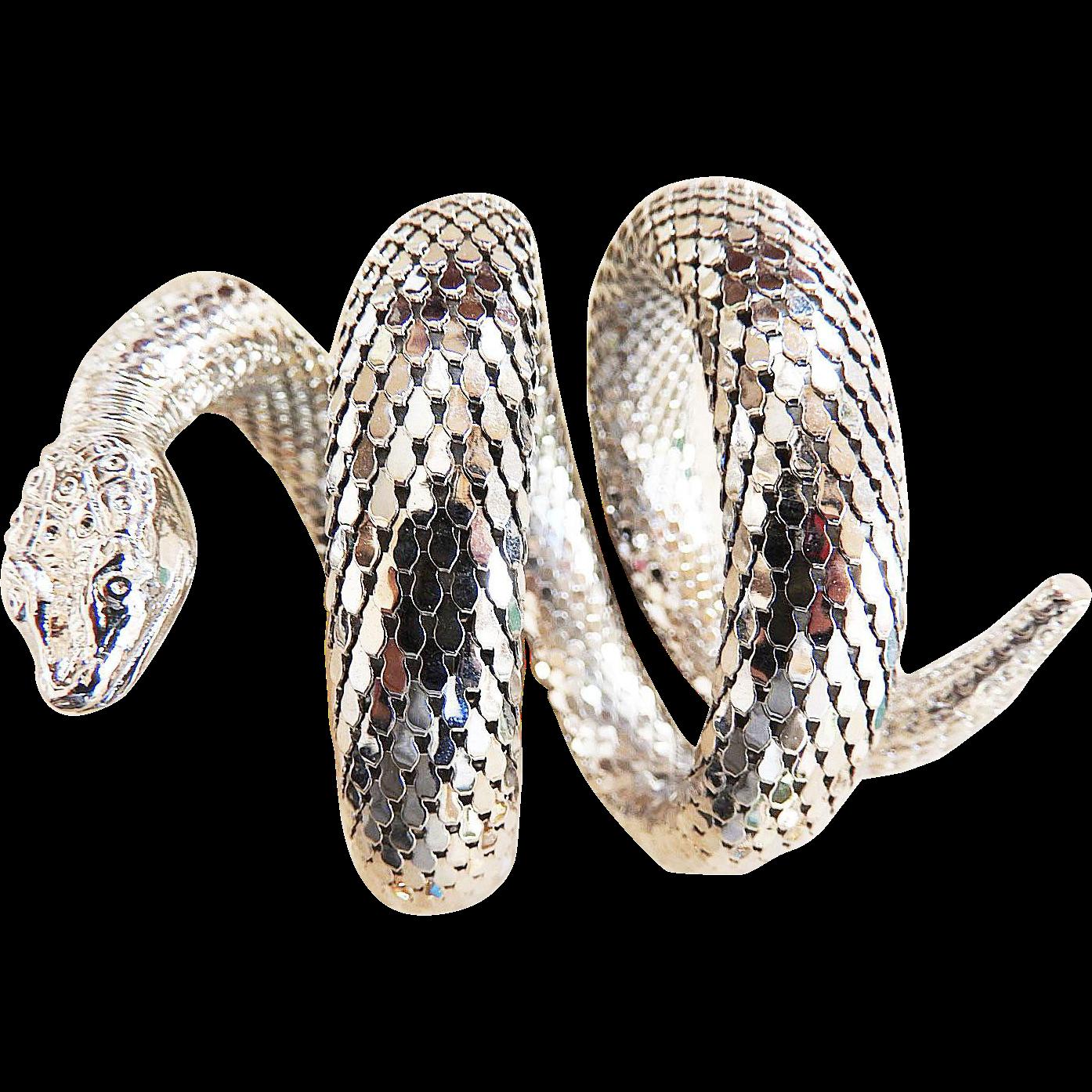 Whiting Davis Vintage Cobra 3 Coil Bracelet and earrings