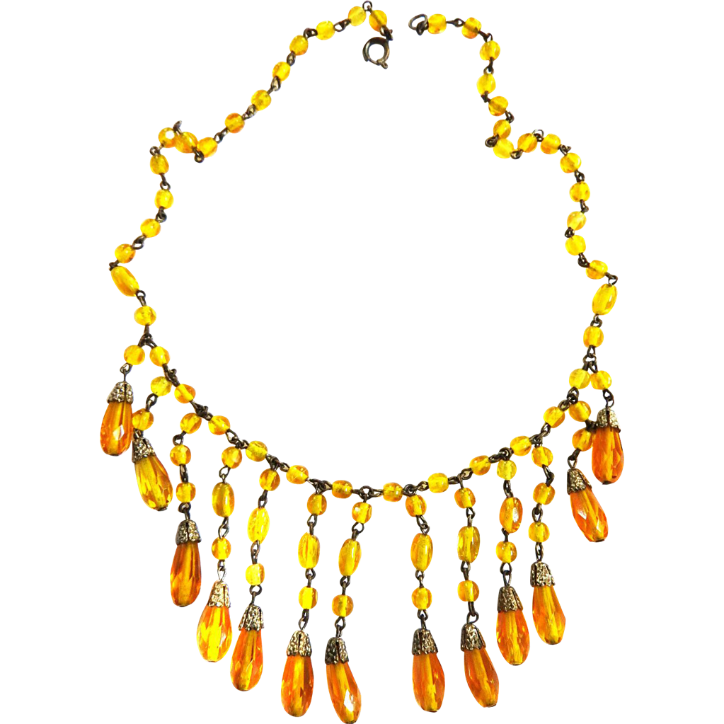 Early 1900s Czech Drippy Topaz Glass Necklace