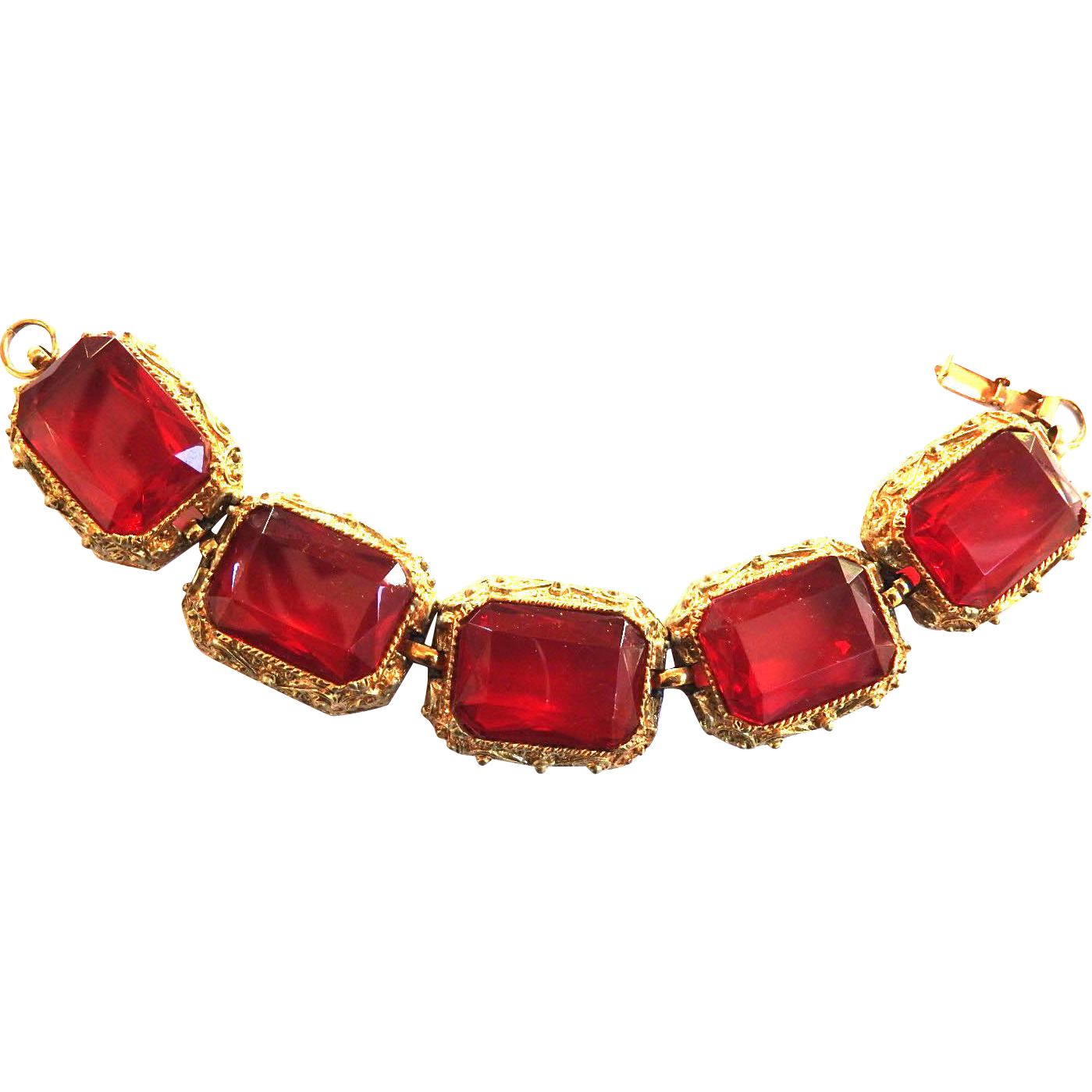 Huge Designer Cherry Red Vintage Detailed Bracelet