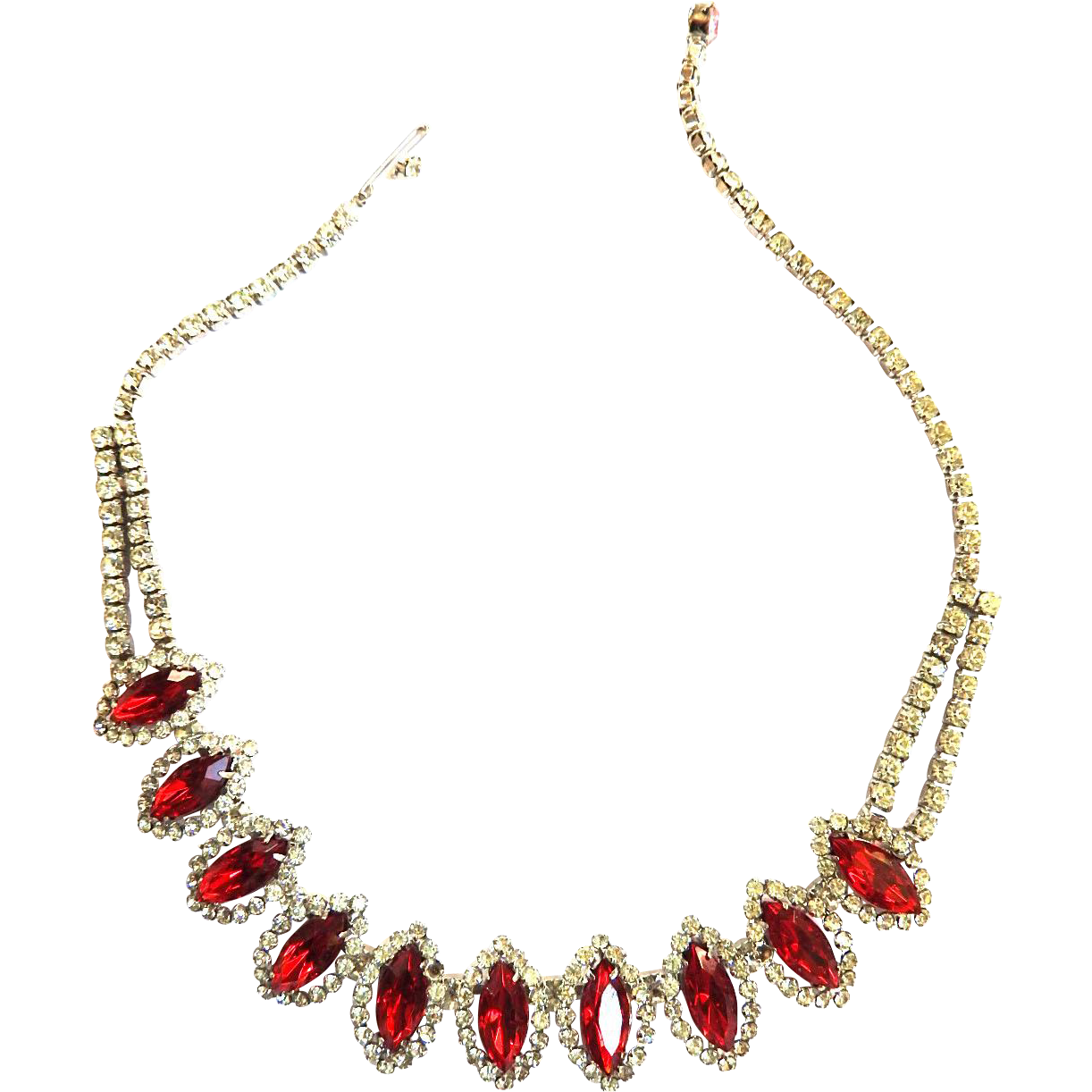 Heart Throbbing Red Weiss Vintage Navette Necklace 50s