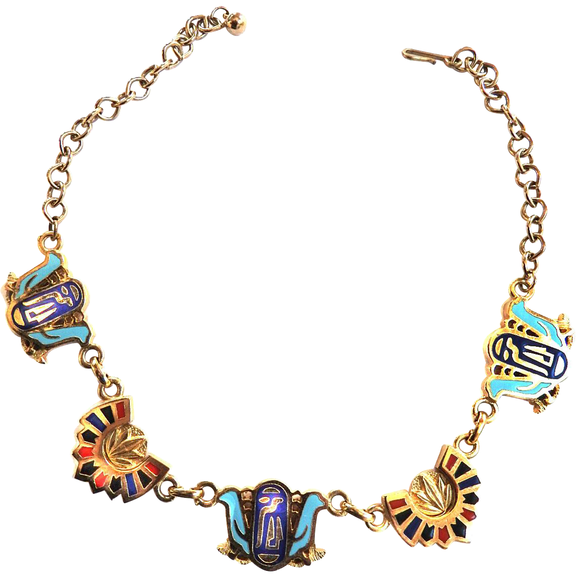 Vintage Egyptian Revival Enameled Charm Necklace