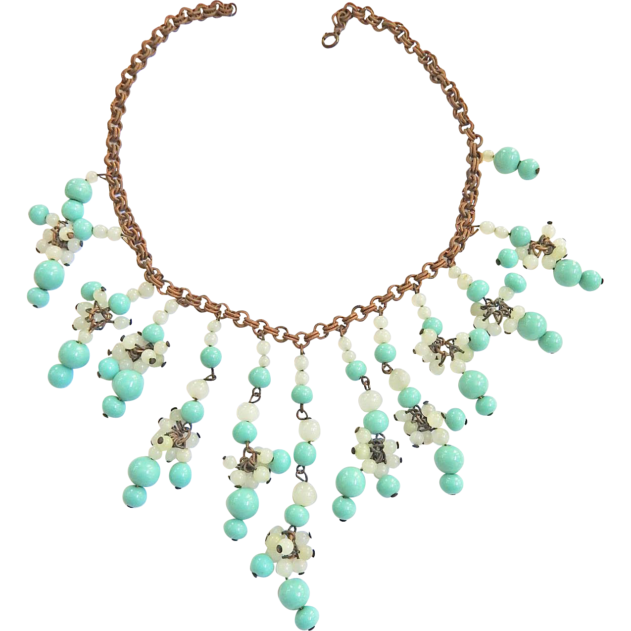 1940s Designer Glass Beads on Chain Necklace Fabulous