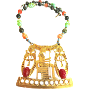 Pharaoh's and Flail's Egyptian Revival Hobe Huge Vintage 40s Necklace