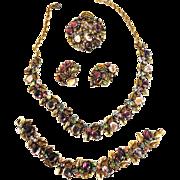 """Gorgeous Signed """"ART"""" Necklace Bracelet Earrings Brooch Amethyst 1950s"""