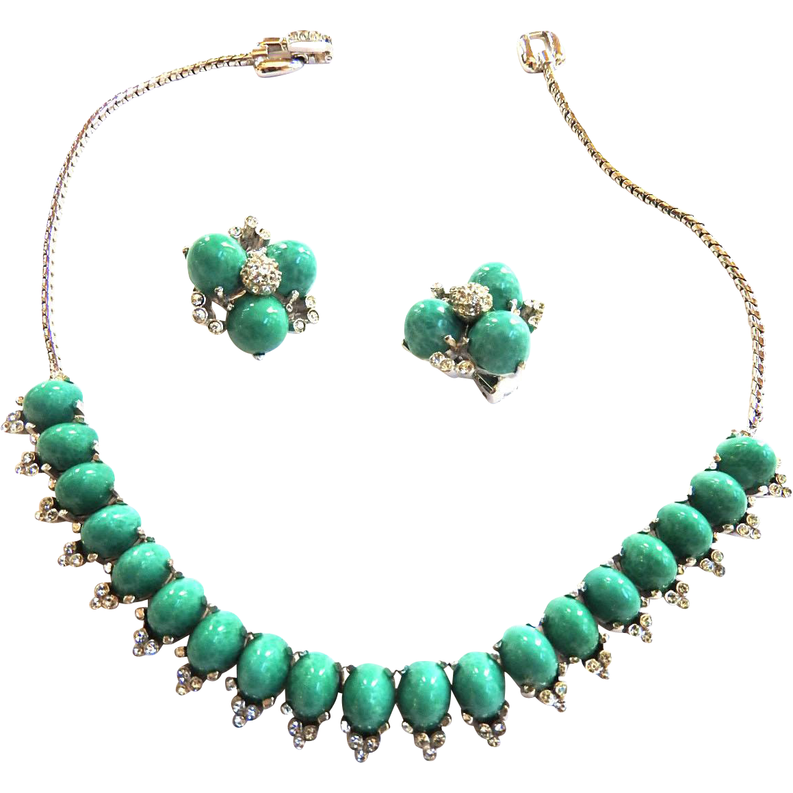 Reya Vintage Matrix Faux Turquoise Necklace and Earrings