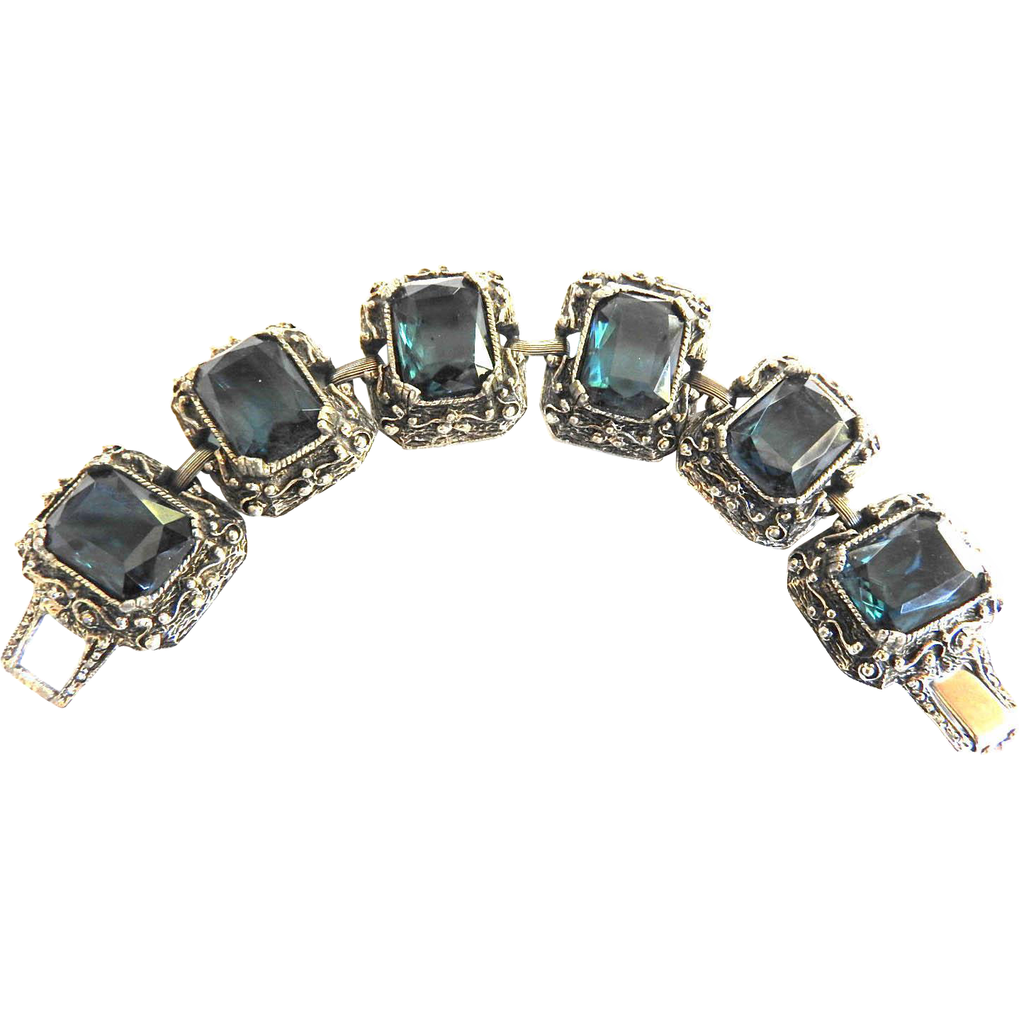 Judy Lee Highly Detailed Rennisance Revival Montana Blue Glass Bracelet