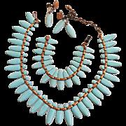 Mid Century Modrn Matisse Robin Egg Blue Necklace Bracelet Earrings