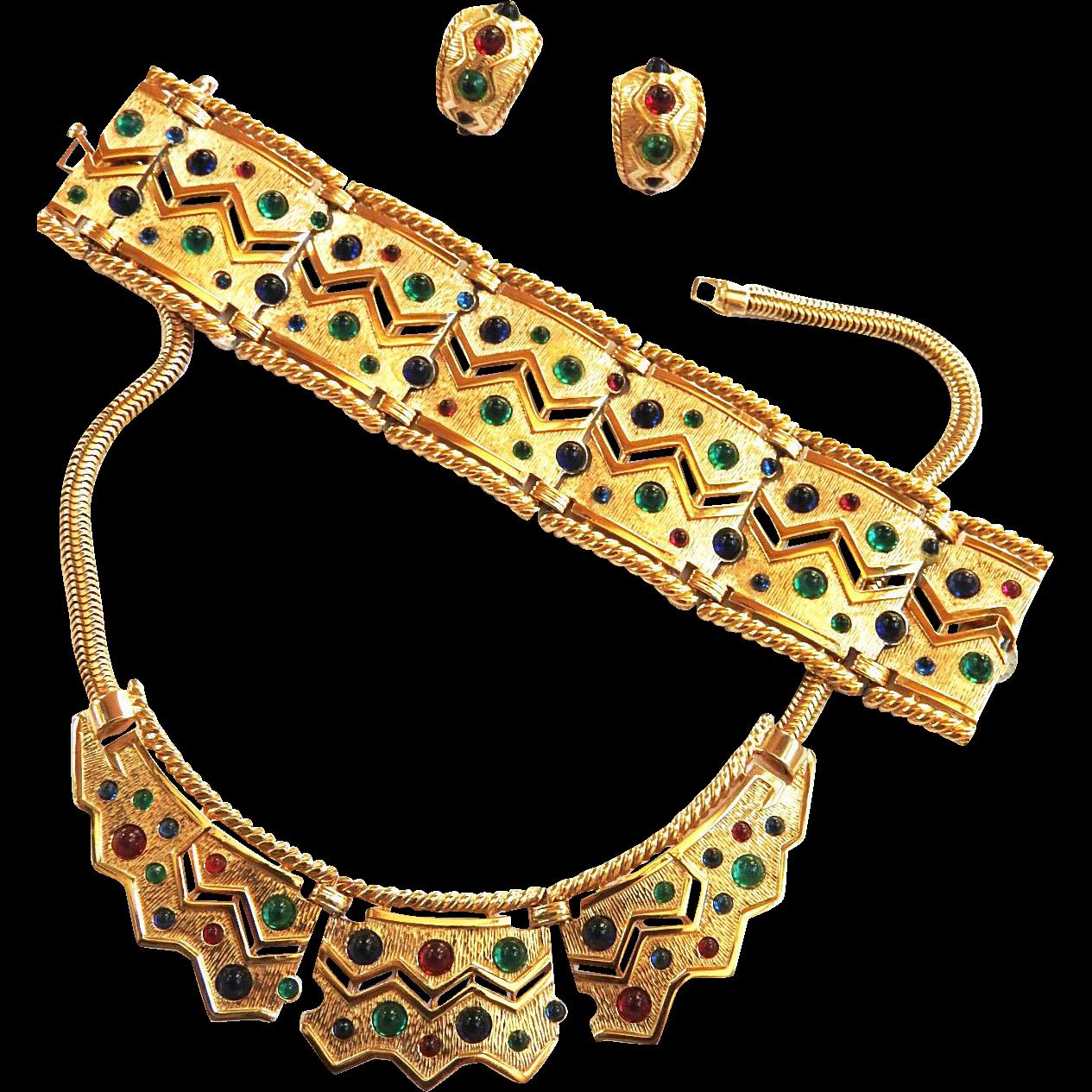 Show Stopping Boucher Vintage Egyptian Revival Necklace/Collar Bracelet Earrings