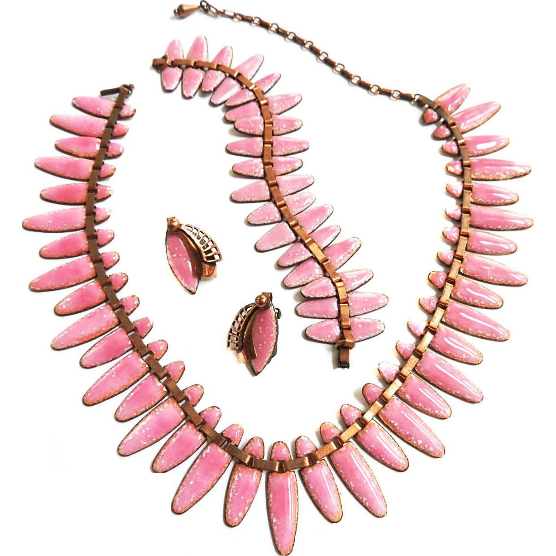 Vintage matisse Mid Century Modern Necklace Bracelet Earrings Copper and Enamel