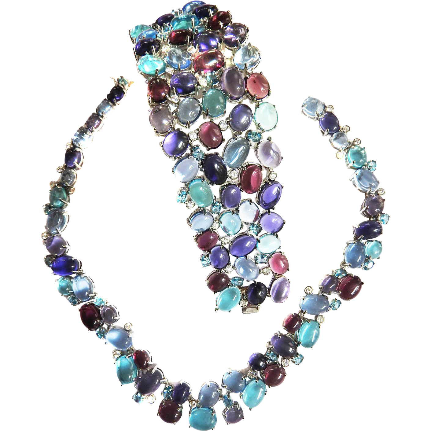 Extraordinary Glass cabochon Amethyst and Aqua Vintage Necklace and Bracelet