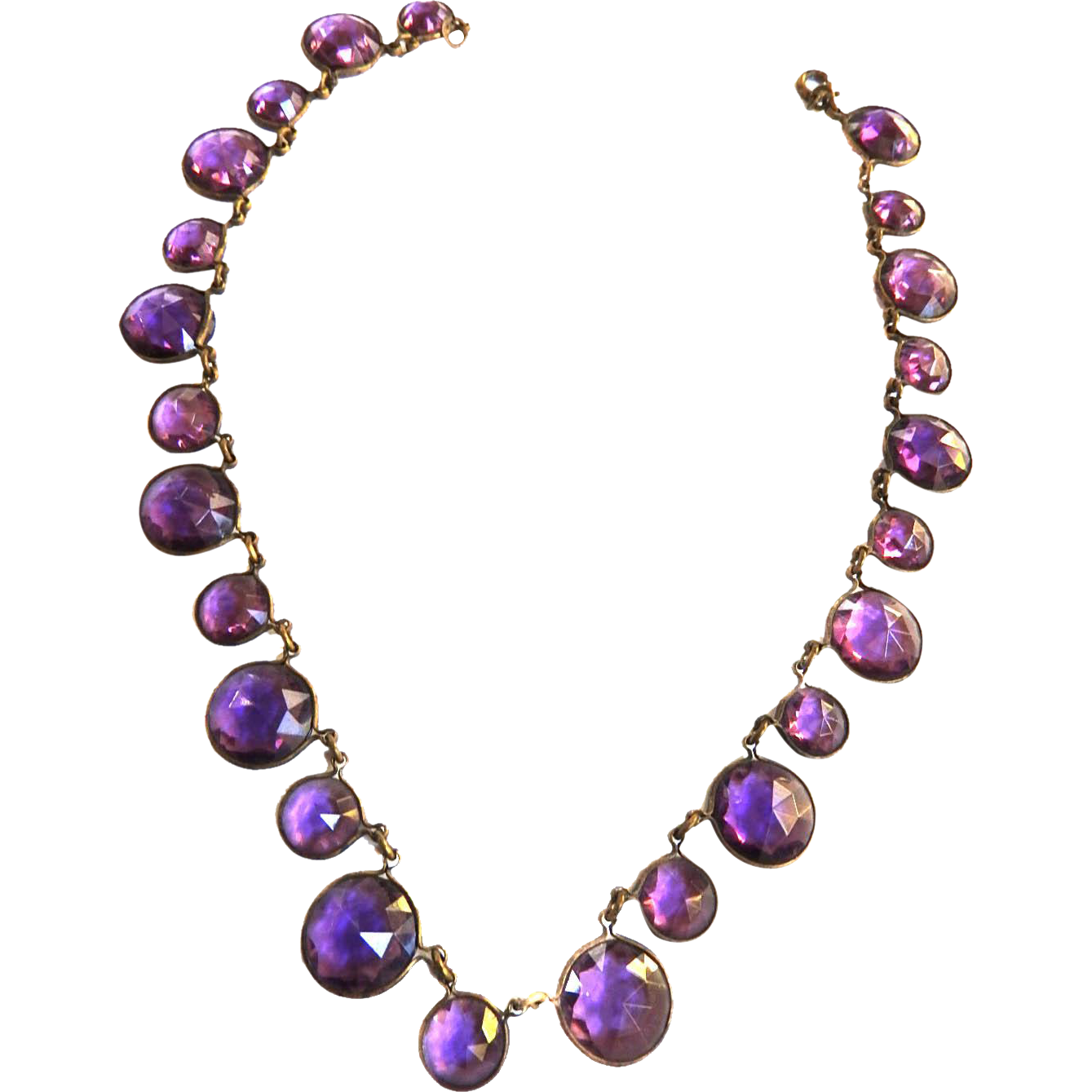 Early 1900s  Riviere Czech Open Back Glass Amethyst Necklace